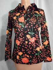 Brown Orange Button Down Shirt Blouse - No Label - Sz 9/10 - VINTAGE 1970s