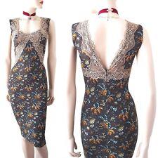 DOLCE & GABBANA D&G grey blue floral dandelion print lace DRESS size 10 6 42