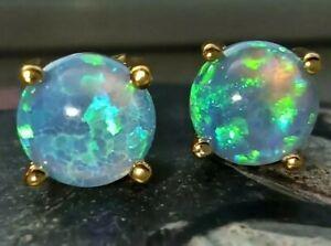 585er gold /925 Silber Ohrringe Ohrstecker mit  blauen  leuchtenden Opal