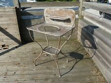 STUNNING VINTAGE / ANTIQUE FRENCH METAL BATH ROOM WASH STAND & DISTRESSED PATINA