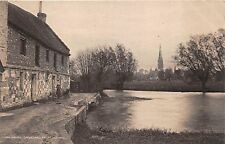 SALISBURY UK CATHEDRAL FROM OLD MILL~RIVER AVON~WOMAN~PRAM POSTCARD 1920s