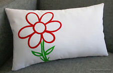 Red Animated Flower DecorativeThrow Pillow Cover/Cushion Cover 12x18""
