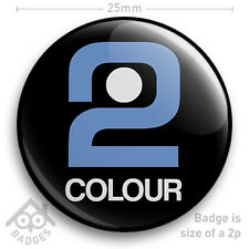 "BBC 2 COLOUR Television TV Logo Badge 1970's 1980's -  25mm 1"" Badge"