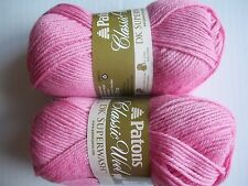 Patons Classic DK Superwash 100% wool yarn, Pink, lot of 2 (125 yds each)