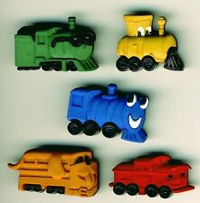 CHOO CHOOS Bright Funny Trains Engine Faces Wheels Boy Dress It Up Craft Buttons