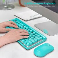 2.4G Wireless Keyboard Mouse Combo 84 Round Keys Cap Mechanical Keyboard wi D1T4