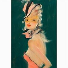 Jean-Gabriel Domergue Art Canvas Poster Affiche - Gift Pinup Pin up girl print