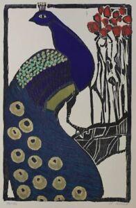 Männlicher Pfau - Gernot Kissel - signierter Farb-Holzschnitt Auflage 130 - 1980