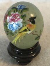 Vintage Chinese Green Jade Hand Painted Egg Exotic Bird & Flowers w/ Wood Stand
