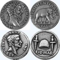 Marcus Aurelius & Brutus Two Most Famous Roman Coins, Roman Empire, (20+26-S)
