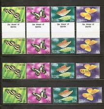 Nevis Sc # 142-145 Butterflies, Regular, specimen , Pair . Complete Set . Mnh
