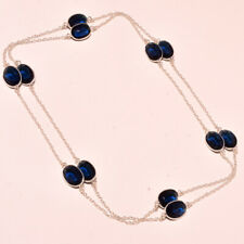 """Ethnic Jewelry Necklace 36"""" Ch-1135 Iolite Faceted Gemstone Handmade Fashion"""