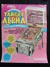 Flyer Publicité Target Alpha Flipper Pinball gottlieb -collection jeux café game