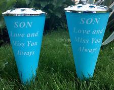 Set Of 2 Son Soft Blue Remembrance Memorial Vases