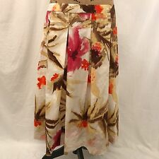 Talbots Womens White Pink Brown Floral Pleated Work Skirt - Size 16