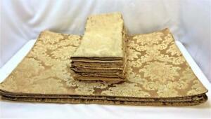 Matching Set Gold Brocade Cloth Placemats & Napkins Damask Jacquard Scroll