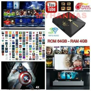 8K Arabic English Turkish Africa WI-FI Android 10 Sports TV BOX HD Moive 4/64GB