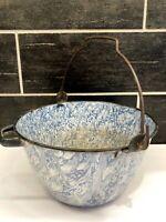 Vintage Blue & White Swirl Enamel Kettle Bucket Pail Spout Bail Handle Farmhouse