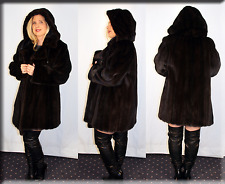 New Hooded Ranch Mink Fur Coat Size Extra Large XL 14 16 Efurs4less