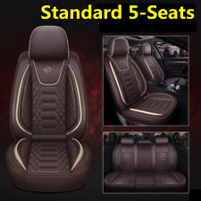 Standard 5-Seats Full Set Car Coffee Breathable PU Leather Seat Covers Cushion