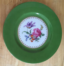 "Vintage Puls Germany Czech Plate 8-3/8"" Floral Center Green Rim Gold Decoration"