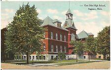 East Side High School in Saginaw MI Postcard 1909