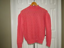 Knitted & Knotted Anthropologie Coral Pink Crochet Eyelet Mohair Sweatet M