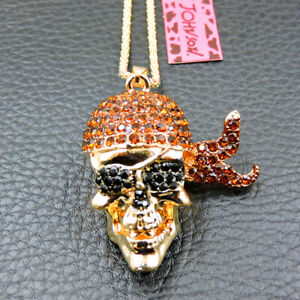 New Brown Crystal Fashion Skull Pendant Betsey Johnson Sweater Necklace