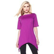 Diane Gilman DG2 Scarf-Hem Tee-Shirt Tunic - Grape 192485A CLEARANCE $35