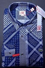 NWT Lacoste LIVE Men's Long Sleeve Skinny Fit Blue Cotton Casual Shirt L Eur 41