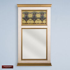 Handmade Painted Glass Wood Large Rectangle Decorative Wall Mirror from Peru