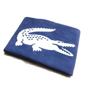"Lacoste Beach Towel Blue Cotton Size 36"" x 66"" Large Crocodile Logo Bath Sheet"