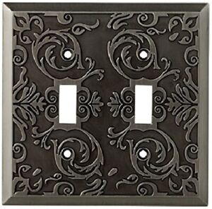 Allen + Roth Fairhope 2-Gang Antique Pewter Standard Toggle Metal Wall Plate