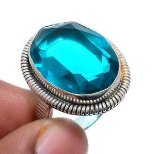Indicolite Tourmaline Vintage Gemstone 925 Sterling Silver Jewelry Ring s.7 F530
