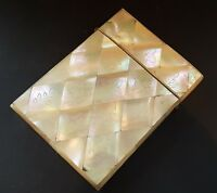 Carved mother of pearl vintage Victorian antique treen wood card case box