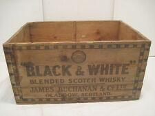 OLD VINTAGE WOOD-WOODEN BLACK & WHITE BLENDED SCOTCH WHISKY JAMES BUCHANAN CRATE