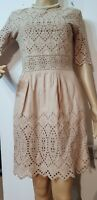 WHISTLES LACE  FITTED  DRESS SIZE UK 8 US 4 BEIGE 100% COTTON