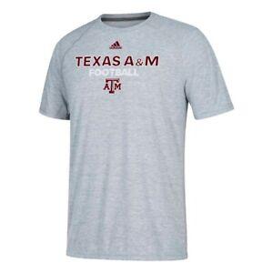 Texas A&M Aggies NCAA Adidas Men's Grey Sideline Football Climalite T-Shirt