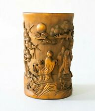Fine Antique 1900 Chinese Scholar Luohan Bamboo / Wood Bitong Brush Pot