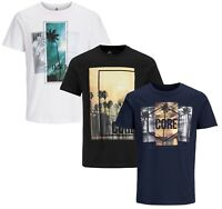 JACK & JONES Core T-shirt Mens Crew Neck Sunset Beach Logo Print Cotton Tee