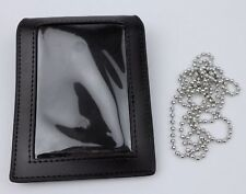 BLACK LEATHER BADGE CARD ID HOLDER CASE & NECK CHAIN-0167