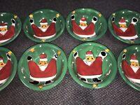 "Lot Of 8 Gibson Festive Santa Green 8.25"" Christmas Soup Cereal Bowls"