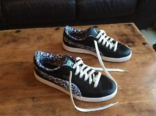 Men's, Puma, Black Leather Trainers, Size 10