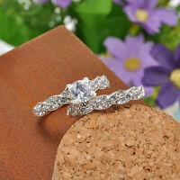 Womens Ladies Crystal Rhinestone Wedding Engagement Ring Band Rings Set Jewelry