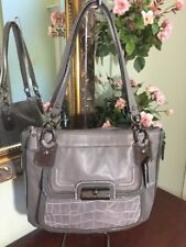 Coach Kristin Leather Croc. Gray Spectator Tote Shoulder Bag 18808 B2