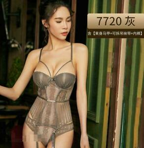 Sexy Lingerie Steel Ring Gathered Mesh Lace See-Through Temptation Corset Suit