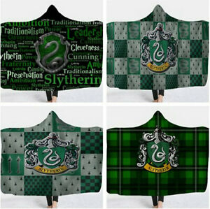 Harry Potter Slytherin Hooded Blanket Wearable Blanket Xmas Gift 150x130cm