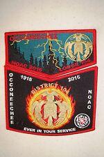 OA OCCONEECHEE 104 COUNCIL 2-PATCH RED HUNGER GAMES 100TH ANN 2015 NOAC FLAP