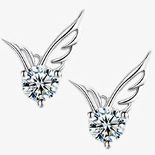 Fashion 925 Sterling Silver Plated Jewelry Angel Wings Crystal Ear Stud Earrings