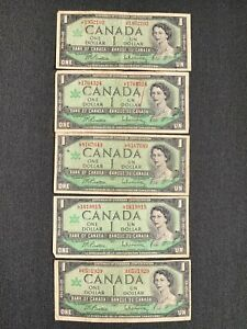 Canada One Dollar $1 (1967) WITH SERIAL - 5 Well Circulated Notes - L3